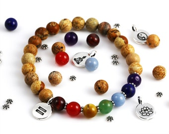 Yoga Bracelet Kit. DIY Bead Kit. Picture Jasper Beads. Chakra Gemstones. Choose Your Charm. Stretch Bracelet.