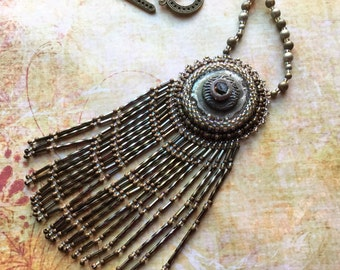 Raku Necklace, Boho Gypsy Festival Jewelry, Bead Embroidery Wearable Art, Rustic Fringe