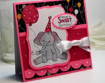 "Birthday Card - Handmade Birthday Greeting Card - 3D Card - 5.25 x 5.25"" Have a Sweet Birthday Elephant Balloon Girl Gift Stationery OOAK"
