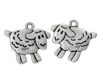 7 Sheep Charms // Lamb Charm // Ewe Charm // Silver Sheep Charm // Sheep Pendant