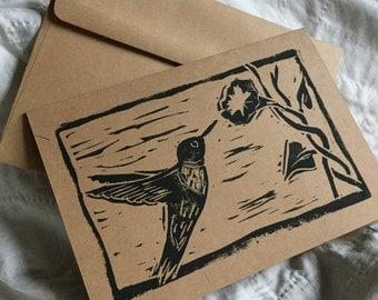 Hummingbird Handstamped Linocut Card