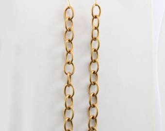 Handmade Earrings Vintage Brass Chain 5 Inches Long Attached to Brass Hooks Oscarcrow