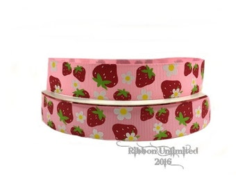 """10 YDS Wholesale 7/8"""" Strawberry Delight grosgrain ribbon LOW Shipping COSTS"""
