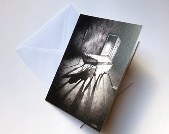 Stephen Under The Bed, blank card, horror card, fantasy card, monster card, black and white card, art card, horror print, scary card