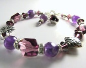 Purple Amethyst Semiprecious Stone Swaroski Cosmic Crystal and Bali Batik Leaf Beaded Bracelet