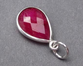 Ruby Birthstone Charm, Ruby Gemstone Bezel Pendant, July Birthstone Jewelry, Sterling Silver Ruby Necklace Pendant