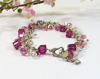 Pink Swarovski Crystal Bracelet, Fuchsia Rose Swarovski and 925 Sterling Silver Bracelet in Hot Pink Fuchsia & Rose and Aurora Borealis