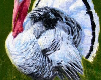 White Turkey-Holiday gift / Wedding gift / Birthday gift, Favorite animal, Original oil painting