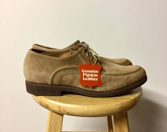 Vintage Suede Oxfords - 60s Leather Loafers - New Dead Stock - Rare 1960s Lace Up Oxfords - Men's 11 Euro 44 1/2 UK 10