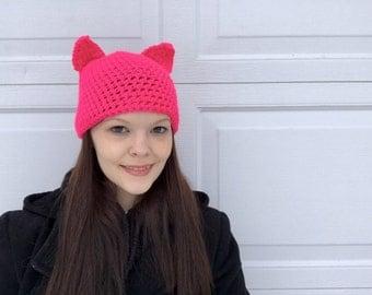 Pink Cat Crochet Hat, Custom hat, Newborn to Womens hat-photography prop, winter hat, fall hat-crochet hat.