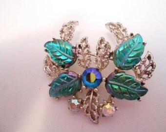 Vintage brooch, Art glass and AB crystal floral brooch, 1950s retro brooch, vintage jewelry