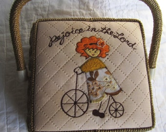 Vintage quilted applique cute religious sewing basket wicker storage