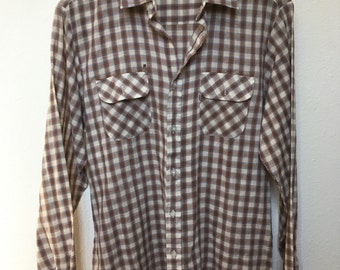 """Levi's white tab shirt Wildfire 1979, long sleeve plaid levis shirt, 70s 1970s Levi, tan brown blue checkered, distressed paper thin, 40"""""""