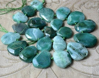 Green Faceted Agate nugget stone beads loose strands,Gemstone Beads,geode agate stone beads