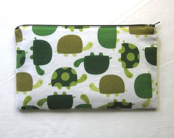 Turtles Fabric Zipper Pouch / Pencil Case / Make Up Bag / Gadget Sack
