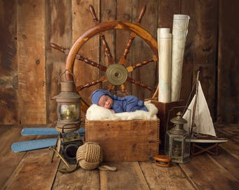 "Digital Backdrop- ""The Nautical Baby""- Newborn Prop"