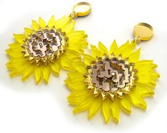 SUNFLOWER Statement Earrings - Flower earrings, yellow earrings, laser cut earrings, festival earrings, summer earrings, perspex jewelry