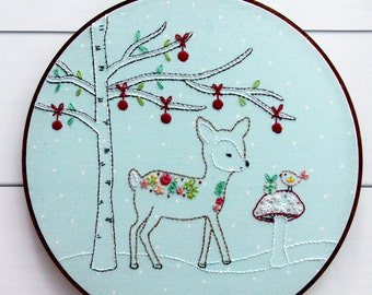 Woodland Winter Christmas Deer Embroidery Pattern