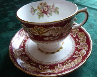Briar Rose Tuscan Fine English Bone China Teacup and Saucer-Vintage 1940 Downton Abbey