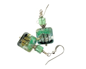 Silhouette Tree Lampwork Earrings, Nature Drop Earrings, Tree of Life Earrings, Gift for Her, Lampwork Glass Bead Jewelry, Green Earrings