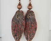 Unusual Polymer Clay Leaf Earrings, Red, Brown Veined, Edgy, Organic Textured OOAK Earrings