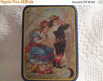 15% SALE Vintage COATS and CLARK Tin Container Blue Victorian Sewing Americana Advertising