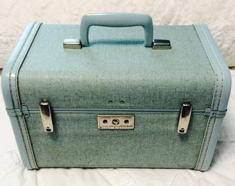 Vintage 1950s SAMSONITE Train Case Aqua Blue Traveller Travel Makeup Cosmetic Luggage Carry On Storage Case
