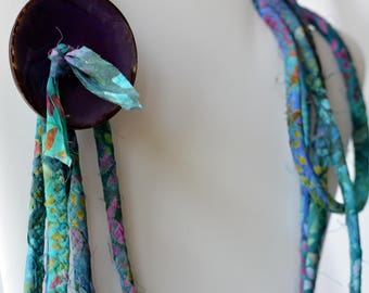 Purple Statement Necklace, Infinity Necklace, TQ110 Handmade Wrap Fiber Jewelry, Purple and Turquoise Skinny Multi Strand Necklace