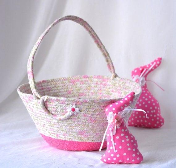 Shabby Chic Flower Girl Basket, Handmade Pink Easter Basket, Pretty Pink Wedding Card Basket, Lovely Pink Easter Decoration