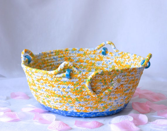 Summer Picnic Basket, Hostess Gift, Handmade Yellow Floral Fabric Basket, Happy Summer Bowl, Shabby Chic Yellow Napkin Basket, Mail Bin