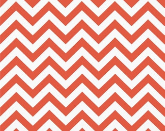 Premier Prints Coral White Chevron Fabric