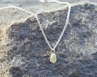 Diamond Necklace April Birthstone Necklace Womens Gift Raw Diamond Pendant Yellow Diamond Necklaces Rough Diamond Jewelry Natural Diamond