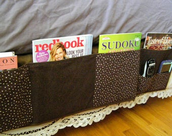 Bedside Caddy Dorm Organizer dark brown polka dot 6 pocket