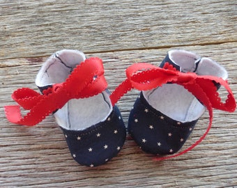 Red, White and Blue Baby Booties With Ribbon Ties, Baby Booties, Patriotic Baby Booties