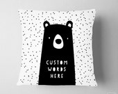 Personalized Pillow Zoo Woodland Nursery, Girl Room Bear Forest Decor, Zoo Name Pillow, Confetti Kids Pillow Decor, Name Decor