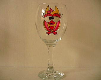 Hand painted wine glass: Mrs owl, choose your color