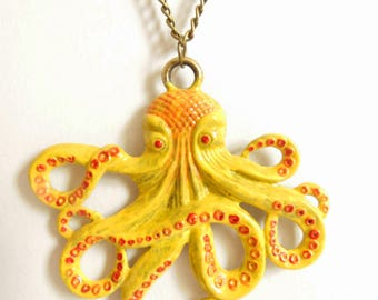 Yellow Octopus Necklace
