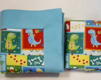 Dinosaur Double Flannel Baby Blanket with Matching Burp Cloth for Boys in Blue - Baby Recieving Blanket, Flannel Blanket
