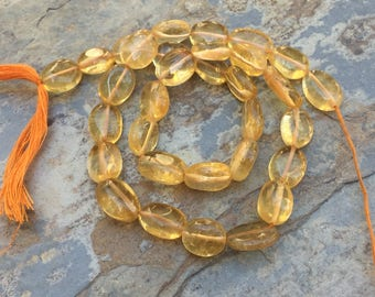 Citrine Ovals, Oval Beads, Citrine Beads, 13 inch stand, 11mm approx