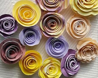 bakers dozen 13 mini tiny paper roses spirals set light purple lavender and yellow peach embellishments