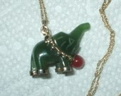 Vintage Jade Elephant Pendant Necklace 14K Gold Chain 1960's Jewelry Christmas Gift