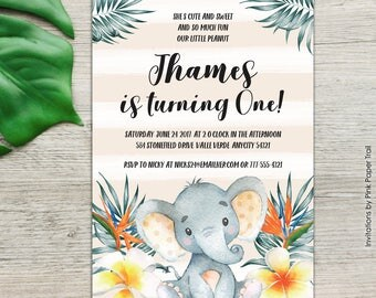 Elephant Birthday Invitation Boy, Boy Birthday Invitation Tropical Jungle Printable Invitation