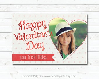 Valentine's Day Card, Picture Valentine's Card, Photo Happy Valentine Cards for Kids, School Trading Cards, Watercolor Heart, Personalized