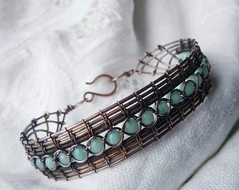 Amazonite and wire lace bracelet