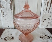 Pink Depression Glass Antique Collectible Footed with Top  Candy Dish with Lid 1930's Vintage Floral Designs