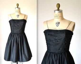 15% OFF SALE Vintage Black Party Dress by Bill Blass// Black Silk Dress //80s Does 50s Black Prom Dress// Vintage Black Prom Dress