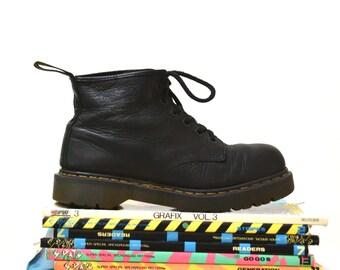 Amazing 90s Black Dr. Martens Black Boots Size 10 10 1/2 11 // Vintage Doc Marten Black Boots Size 9 UK Made in England