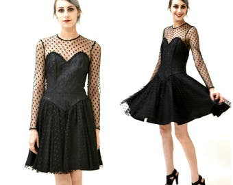 80s 90s Vintage Black Dress Size Small Medium Polka dot dress with Crinoline Skirt // 90s Black Illusion Party Dress