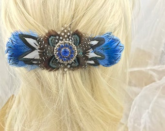 Delicate Blue and Polka Dot French Feather Barrette, Hold Thick Hair With This French Barrette, Blue Feather Hair Clip, Feather Clip