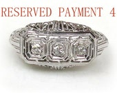 RESERVED Art Deco 18k White Gold Ring with Diamonds c. 1920s Engagement Ring size 6
